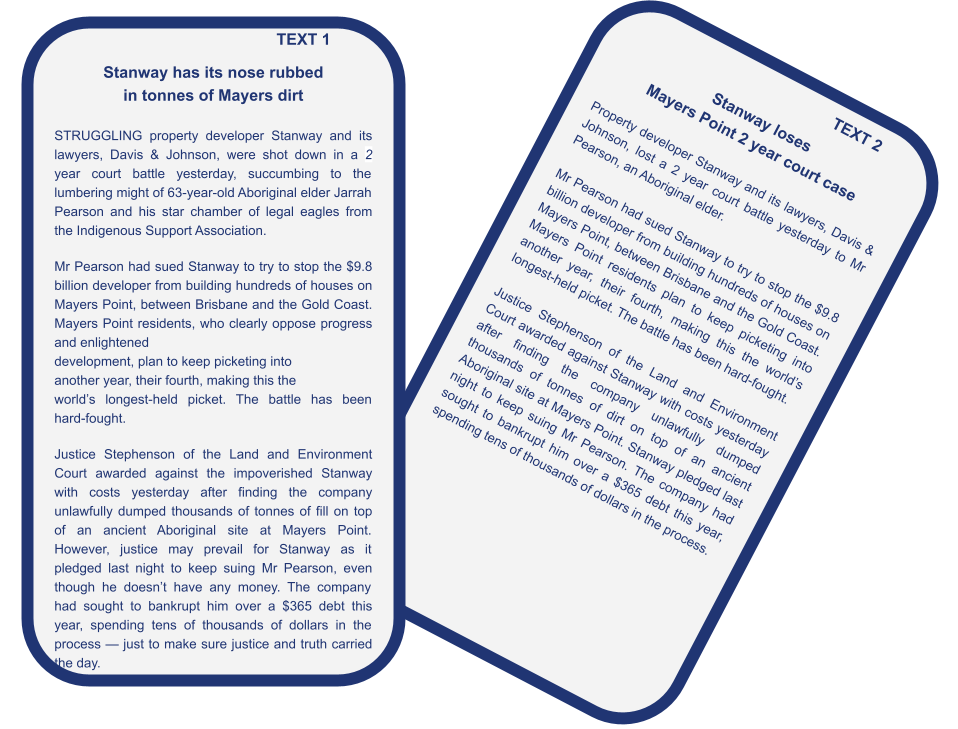 Critical Thinking Activities for ESL Students - Stockland Court Case - Study Material - Learning Activity
